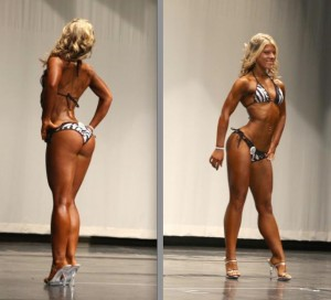Here's Jackie in a Bikini show around 2010. She took some time off from competing. Since she's going to be competing in Figure in this upcoming show, we're going for a leaner lower-body and a more developed upper-body.